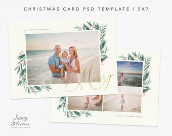 Christmas Card Template For Photographers Photoshop Etsy