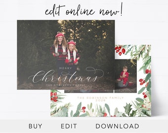 editable christmas card template christmas card design instant download holiday cards christmas photo cards holiday cards edit online