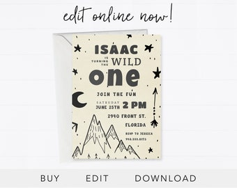 Editable 1st Birthday Invitation Instant Download Card Woods Boy Mountains EDIT ONLINE