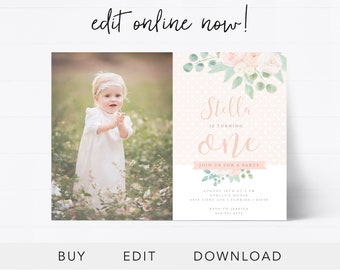 First birthday invitation etsy editable first birthday invitation instant download birthday card baby girl invitation 1st birthday girl floral baby girl edit online filmwisefo