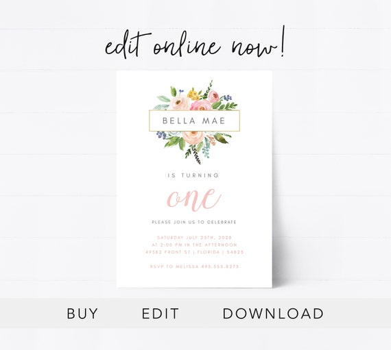 Editable First Birthday Invitation Instant Download Birthday Card Baby Girl Invitation 1st Birthday Girl Floral Baby Girl Edit Online