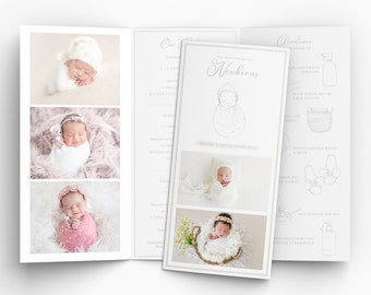 Newborn pricing guide, templates for photographers, PSD pricing guide, newborn PSD brochure template, pricing guide newborns PSD