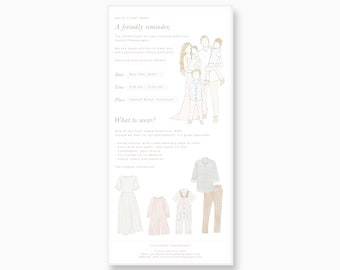 Session reminder template, templates for photographers, session reminder psd template, Photoshop template photography, what to wear guide