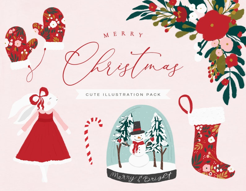 Christmas Illustrations.Christmas Clipart Christmas Illustrations Christmas Drawings Snow Globe Florals Botanicals Christmas Flowers Commercial Use Christmas