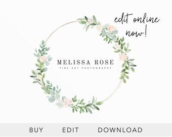 Editable Logo Template, Photography Logo Template, Floral Logo Design, Fine Art Photography Logo Design, Watercolor Flowers, EDIT ONLINE
