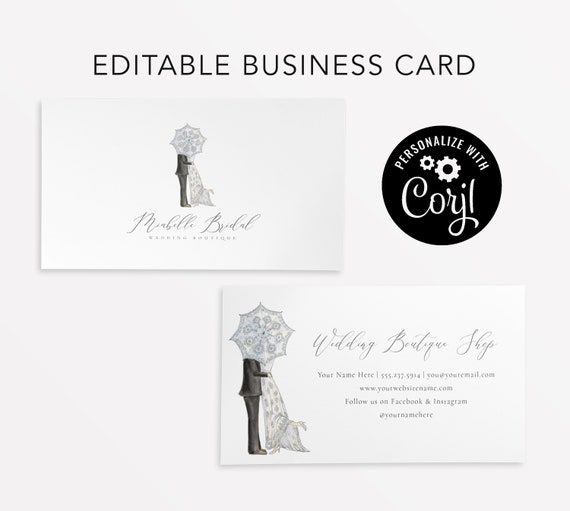 Editable business card instant download bridal boutique etsy image 0 friedricerecipe Images