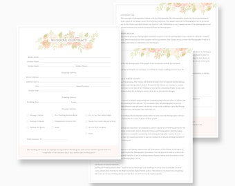 Wedding contract form psd, photography agreement psd, psd agreement template, wedding photography agreement form, psd agreement form