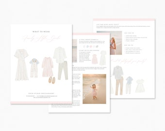Photography Style Guide Template, What to Wear Guide, Client Preparation, Family Session Checklist, Client Style Guide for Families, PSD