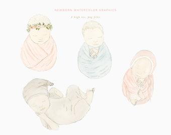 Newborn Photography Graphics, Baby watercolor Graphics, Newborn guide graphics, Watercolor newborn Graphics, Photography baby clipart