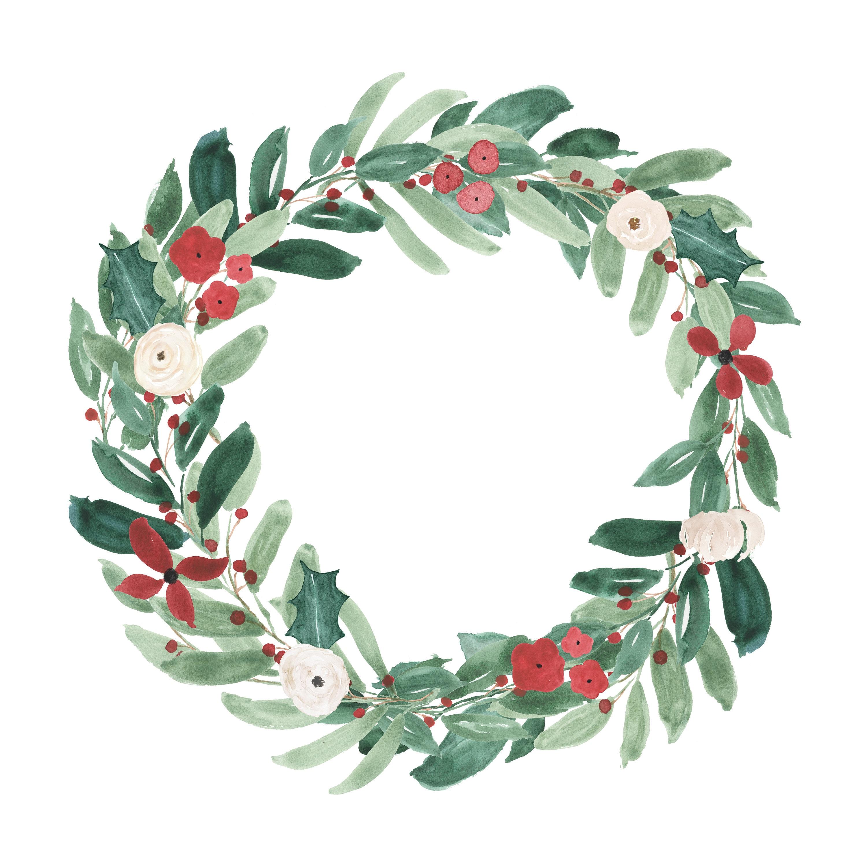 Christmas Wreath Wreath Watercolor Christmas Watercolor Etsy