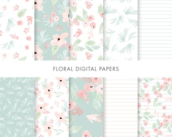 Floral Digital Paper, Pink Flowers Paper, Flowers Digital Paper, Floral Paper, Wedding Flowers Digital Paper, Pretty Digital Paper