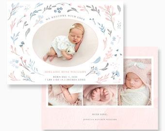 Birth announcement card PSD, birth announcement girl psd file, photography PSD card templates, templates for photographers, psd templates