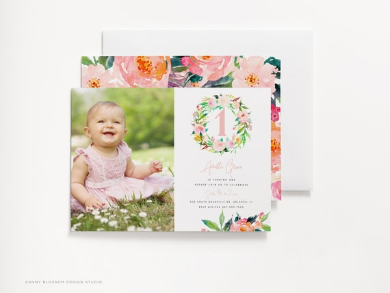 Editable First Birthday Invitation 1st Birthday Floral Printable Baby Girl Invitation First Birthday Card Floral Baby Girl Edit Online