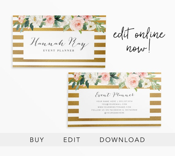 Editable Business Card Instant Download Wedding Planner Etsy