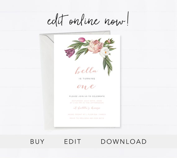 Editable 1st Birthday Invitation Instant Download Birthday Card Botanical 1st Birthday Invitation Template Vintage Flowers Edit Online