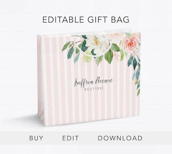 Editable Gift Bag Template Gift Bag Design Boutique Gift Bag Etsy
