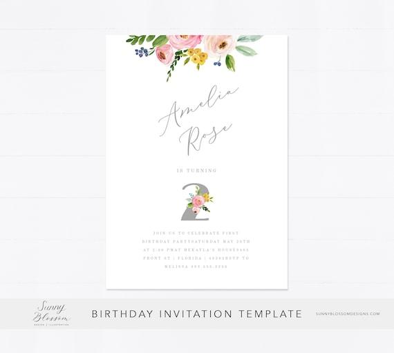 Editable 1st Birthday Invitation Card Birthday Invitation Baby Girl Invitation 2nd Birthday Girl Floral Baby Girl Edit Online
