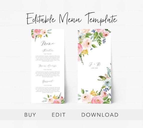 Editable Wedding Menu Wedding Menu Template Wedding Rack  82f3630c4c0