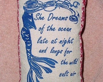 Free Shipping, Handmade, Mermaid She dreams of the ocean pillow