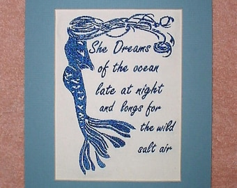 Free shipping, Mermaid She dreams of the ocean wall art