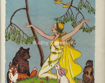 Vintage picture from a children's book of folk tales. Scrapbooking, art, ephemera, digital, papercrafting