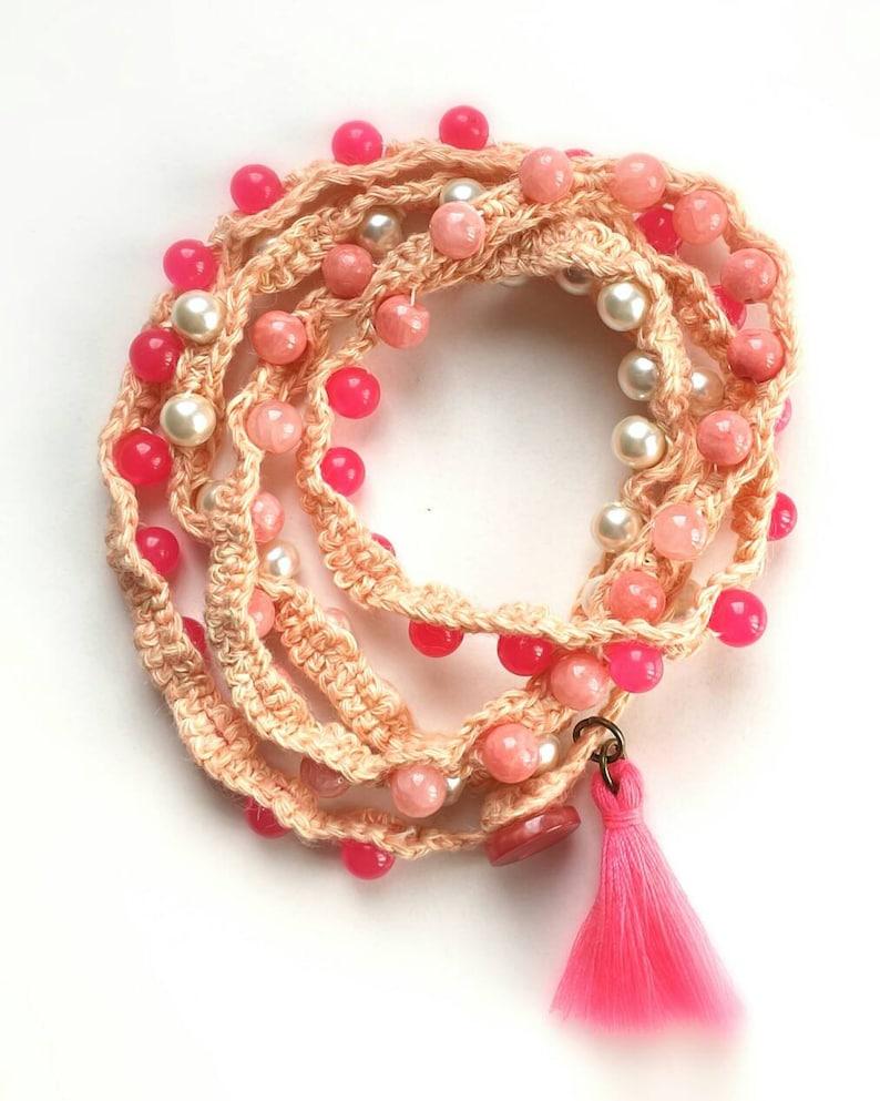 Linen Crocheted Beaded Boho Wrap Bracelet