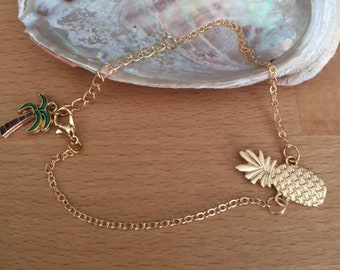 Chain anklet gold metal pineapple and Palm tree