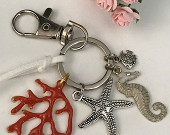 Coral bag jewel and seahorse, seahorse coral keychain and starfish