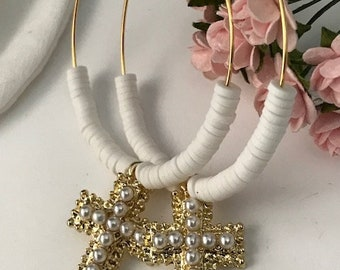 Bohemian cross earrings, white heishi pearl creoles and pearl cross