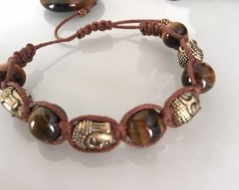 Bronze tiger's eye and Buddha head bracelet