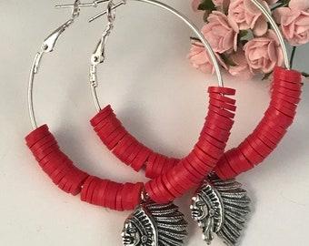Indian head earrings, Creoles red heishis beads Indian head pendant