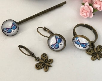 Butterfly bar, asymmetrical ring and earrings, blue butterfly, girl