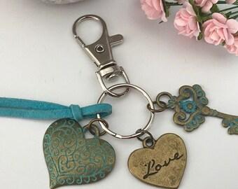 Heart key door, heart bag jewel, antique bronze and key