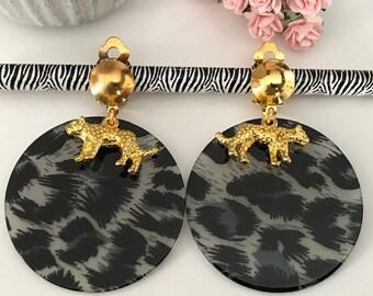 Leopard earrings, gold earrings, leopard pendants, leopard print sequin