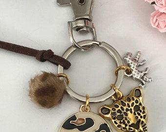 Leopard key ring, leopard bag jewel, medal, leopard head, faux fur ball pompom, mini leopard