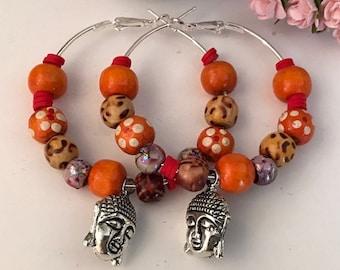 Creole earrings beaded wood and Buddha head your orange