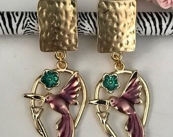 Ear clips hummingbirds purple enamel