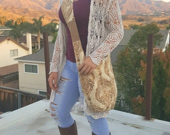 e9e7bdf8f8 Beige and brown Bohemian crossbody hobo bag