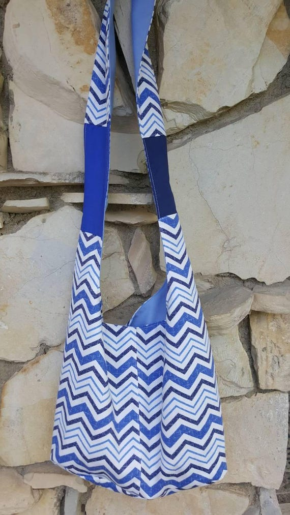 64eb7cd0f9 Light weight canvas chevron hobo bag. Blue navy and white
