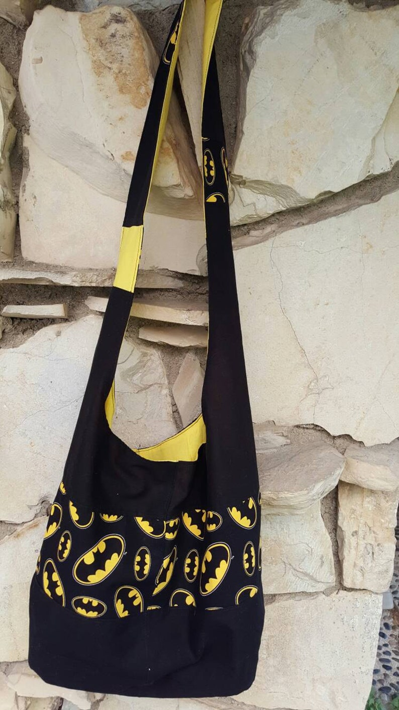 25bf2e373272a Batman print across the body hobo bag slouch bag hobo | Etsy