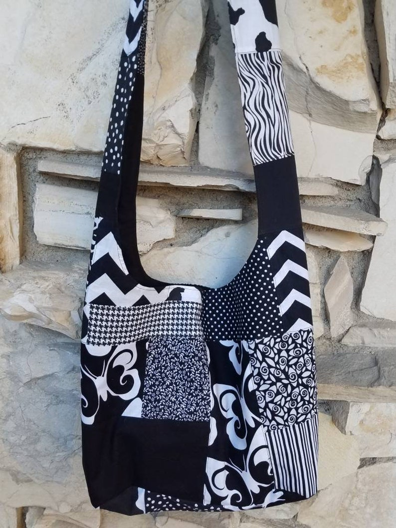 08120aea74 Black and white patchwork hobo bag quilted crossbody hobo
