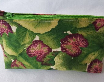 Green leafy cosmetic bag. Make-up bag,  zipper pouch