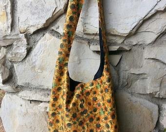 Sunflower Hobo Bag, boho bag, Bohemian bag, hipster bag,  Reversible, across the body bag, slouch bag, handbag.