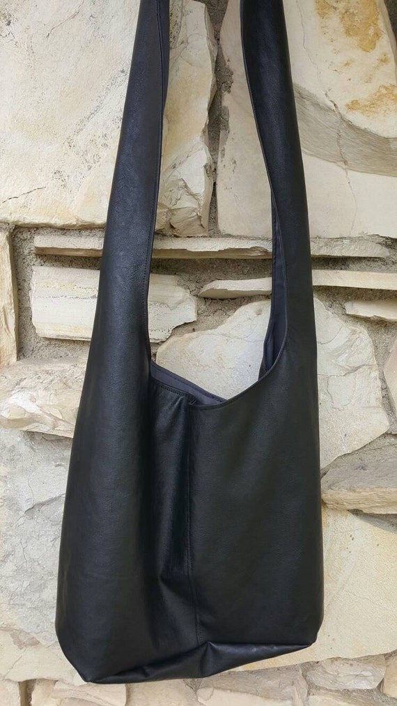 6dc2a8b5850e7 Soft bonded leather across the body hobo bag black hobo bag | Etsy