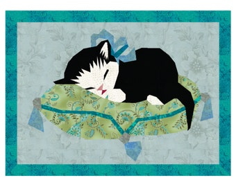 Sleeping Child /& Cat Reproduction Fabric Crazy Quilt Block Free Shipping World Wide
