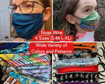Face Mask for Glasses Nose Wire / 2 ply Cloth Cotton Double Layered / Won't Steam or Fog Glasses / Adult, Child, Kids, Extra Large Washable