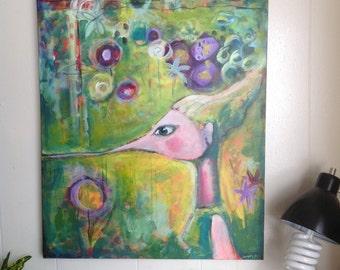 HUMMINGBIRD GIRL original acrylic on canvas 24 x 36
