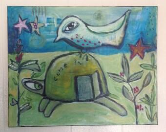 COME IN original acrylic on canvas 16x20