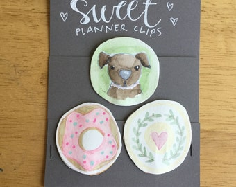 SWEET planner clips for journals or planners