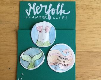 MERFOLK planner clips for journals or planners